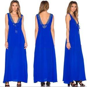 Karina Grimaldi Cathy Beaded Maxi Dress Blue NWOT